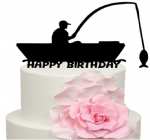 Fisherman in Boat Happy Birthday Cake Acrylic Topper